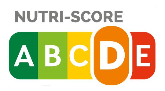 """Nutri-Score D - Die Ermittlung des Nutri-Score erfolgt auf Basis der Nährwertangaben für 100 Gramm, beziehungsweise 100 ml bei Getränken und Suppen. Zur Berechnung wird die Menge bestimmter ungünstiger und günstiger Inhaltsstoffe eines Lebensmittels ermittelt und miteinander verrechnet. Die Palette reicht von """"A"""" (grün) bis """"E"""" (rot). Je niedriger der Nutri-Score, desto höher ist die Nährwertqualität eines Lebensmittels."""