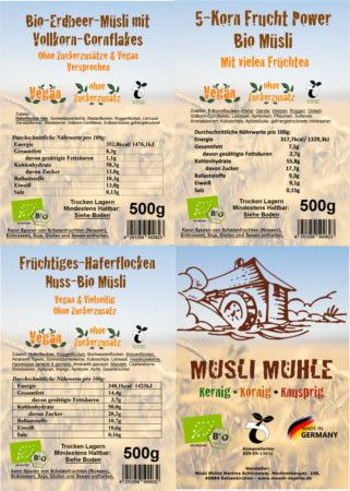Unsere beliebtesten Bio Müsli Vegan und ohne Zuckerzusatz, 3 Müsli jeweils 500g