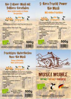 Unsere beliebtesten Bio Müsli Vegan und ohne Zuckerzusatz I 3 Müsli jeweils 500g